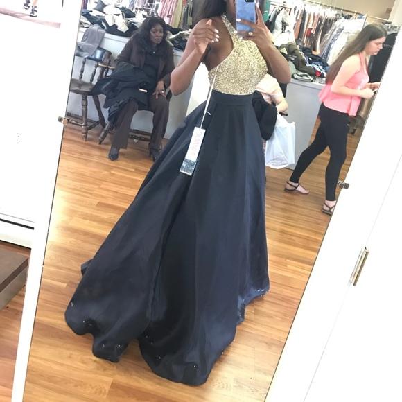 Jovani Dresses   Black And Gold Halter Ball Gown 29160   Poshmark
